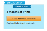 Amazon Prime 3 months India Special Offer for ₹329