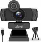 Aoozi 1080P Webcam with Microphone and Free Tripod for $16.60